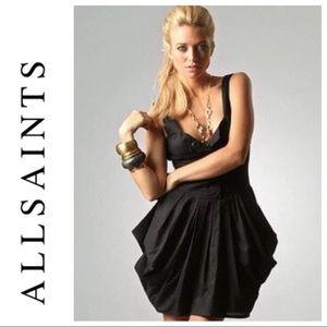 All Saints beaujolais black dress